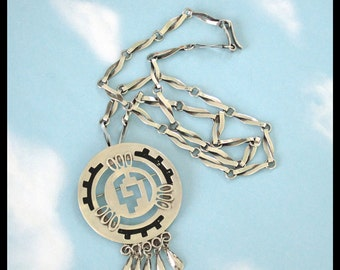 """Large Sterling Silver Pin or Pendant with Unique 24"""" Chain / Taxco Mexico / 37.5 Grams / Aztec Design / 1980s / Estate Jewelry"""