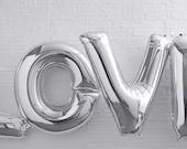 Jumbo 40 Inch Silver LOVE Balloon, HUGE Silver Love Balloon, Dessert Table Balloons, Wedding Backdrop Balloons, Photo Shoot, Birthday Party