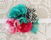 Turquoise Pink Vibrant Flower Headband