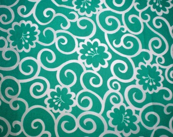 Swirl Flower Print Crepe Fabric Deep Green and White Vintage Rayon Yardage