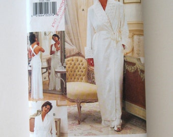 1990s Robe & Nightgown Pattern Vogue 9346 Womens Retro 1930s Ankle Length Robe and Sleeveless Nightgown Pattern Criss Cross Straps Size 6-10