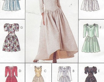 90s Womens Dropped Waist Dress Wedding or Evening Gown McCalls Sewing Pattern 8043 Size 18 20 22 Bust 40 42 44 UnCut Plus Size Patterns