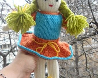 "KNITTED DOLL""LINDA"" Waldorf doll human figure doll ready to go fully dressed doll- waldorf girls doll- Montessori- Steiner doll-gift"