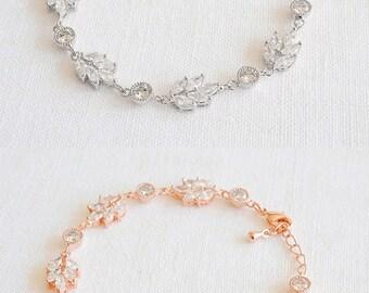 Bridal Bracelet, Crystal Wedding Bracelet, Leaf Bracelet,Tennis Wedding Bracelet, Leaf Cluster Bracelet, Vintage Style Bridal Jewelry, EVA