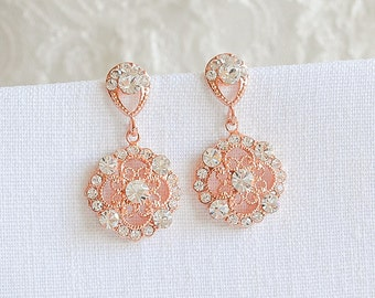 Rose Gold Crystal Bridal Earring,  Wedding Earrings, Art Deco Filigree Dangle Drop Bridal Earrings, Vintage Style Wedding Jewelry, DEVANA