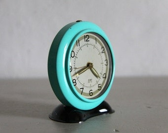 Vintage French Smi  Alarm Clock, Turquoise and Black, 1960s  Mid Century