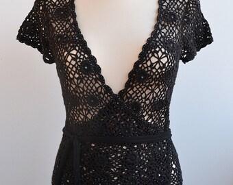Crocheted black bolero size S M celebration unique