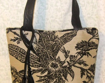 Recycled Leather & Canvas Tote Bag - Black and Beige with Tassel