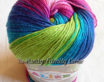 Alize Bamboo Fine Yarn, Hypoallergenic Yarn, Batik Design. Multicolor yarn in blues, greens and pinks (3260) DSH(P2P1P2)