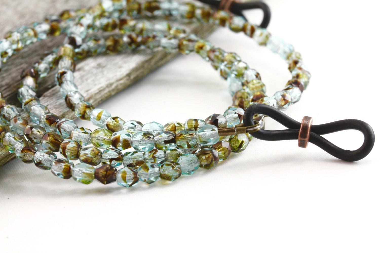 tortoise shell eyeglass chain beaded glasses chains rustic