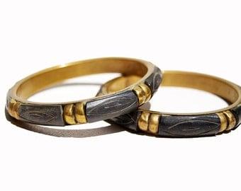 Vintage Carved Bone and Brass PAIR Bracelets Bangle Inlay Evil Eye