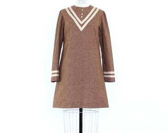 60s Mod Dress, Micro Mini Go Go Dress Chocolate Brown Mocha Neutral Two Tone Minimalist Stripe Long Sleeve Babydoll Dress Boho scooter dress