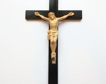 Vintage Cast Metal and Wood Crucifix Cross