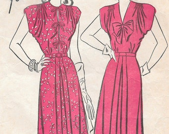 Bust 34-1940's Misses' Dress Advance 4234 Sz 16 Hip 37