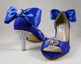 "Royal blue Swarovski crystal heels 1.75"" or  2.5"" heel- The Pipa - Wide shoes available"