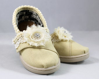 Flower Girl shoes Toddler --Custom TOMS -- Lace TOMS