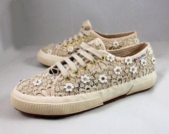 Wedding Superga -- Wedding tennis shoes - Wedding sneakers - Swarovski Crystal Superga - Bridal Superga