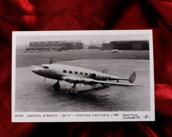 Airplane Postcard Imperial Airways Fortuna DH 91 1939 Croydon Runway Airport Terminal Taxi Takeoff AM705 Pamlin Prints A.E. Hagg 1972 Card