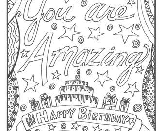 Happy Birthday Coloring Page: You are Amazing!