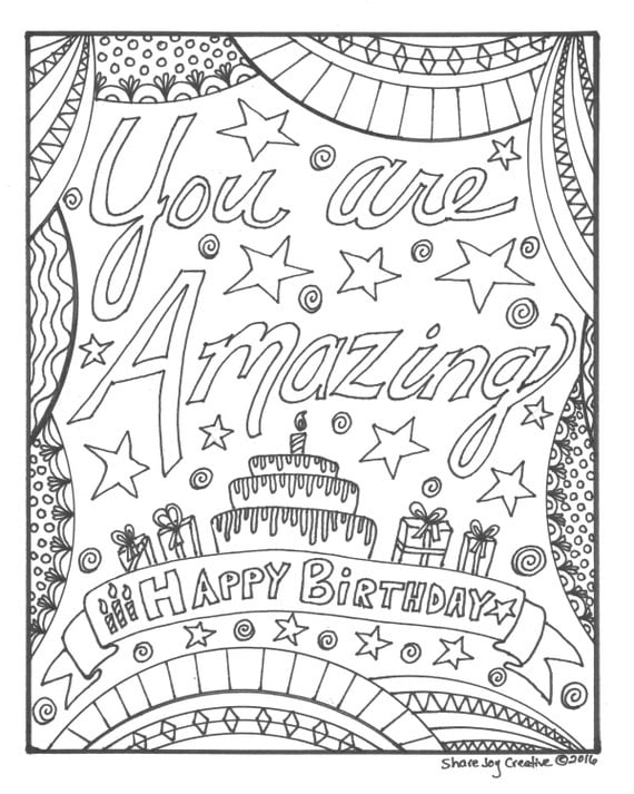Happy Birthday Coloring Page: You are Amazing