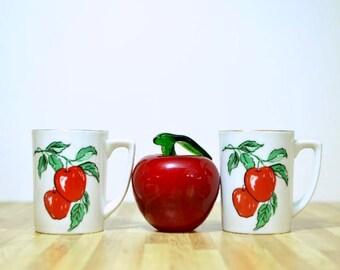 Vintage Viletta's Art Studio Roseburg Oregon Apple Teacups:  Set of Two