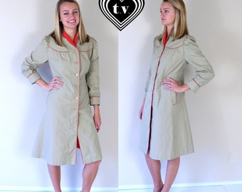 vtg 80s tan DOLLY red trim TRENCH COAT Large/Extra Large puff sleeve fitted skinny princess spy retro indie jacket outerwear
