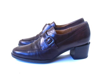 vtg 90s BROWN soft leather Buckle PREPPY HEELS 6 loafers brogues oxfords boho grunge shoes
