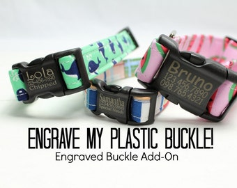 Engraved Plastic Buckle (UPGRADE ONLY - Cannot be purchased alone!)   Engrave My Buckle!   Engraved Dog Collar   Engraved Buckle