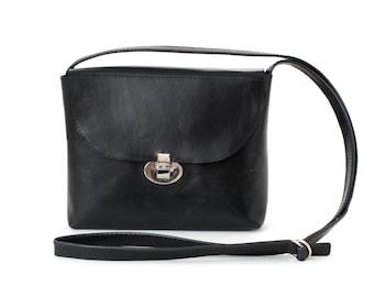 Crossbody Box Bag Genuine Leather Black, golden hardware, satchel bag, cross body bag, leather purse