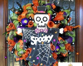 Whimsical Spooky Skeleton Wreath