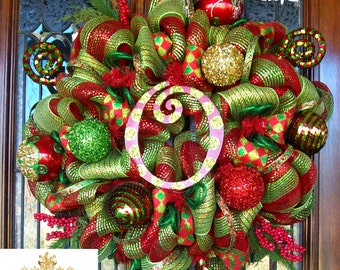 Ultra Christmas Mesh Wreath (with letter of choice)