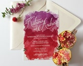 Watercolor Wedding Invitation Red & Purple Brush Abstract Design - DIGITAL FILE- Use for Showers Birthday Rehearsal Dinner Any Occasion
