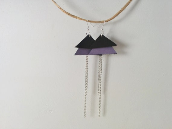 Purple earrings,purple leather,purple and black,leather earrings,leather jewelry,pale purple,lilac earrings,chain earrings,triangle earrings