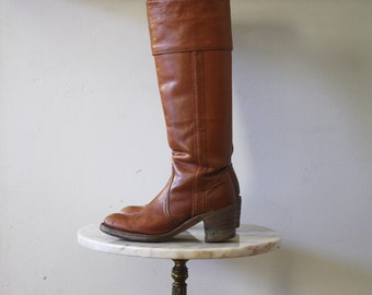 FRYE Boots - 6 Women's - Tall Campus Brown Leather Riding
