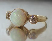 Antique Opal and Diamond Engagement Ring 14K