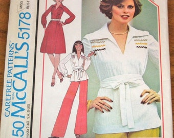 McCall's 5178 Tucked Tunic Top, Pleated Pullover Dress, Womens Misses Vintage 1970s Easy Sewing Pattern Size 18 Bust 40 Uncut Factory Folds