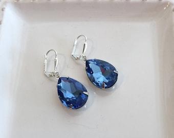 Sapphire Blue Earrings Light Sapphire Blue Crystal Rhinestone Earrings November Birthstone Winter Wedding Bridesmaid Earrings Prom