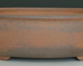 Oval Bonsai Pot Red Stoneware Unglazed