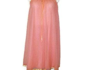 60s Pink Nightie Pink Nightgown Short Nightie Vintage 1960s Sleepwear Bright Pink Lingerie Pink Chiffon Nightie Bright Pink Negligée