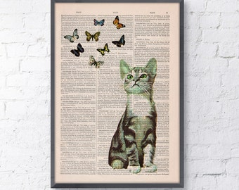 Summer Sale Little cat and butterflies collage Print on Vintage Book page Funny Nursery wall art, funny animal prints ANI062