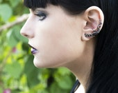 Labradorite Ear Cuff - Cartilage Earring - Gothic Earcuffs - Wire Wrapped - Sterling Silver - Victorian Gothic