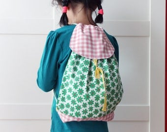 Girls' drawstring backpack, nursery bag. Baby and toddler gear. Birthday gift idea. Easter.