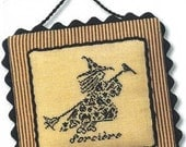 French Country Witch : JBW Designs counted cross stitch patterns October Halloween Autumn monochromatic hand embroidery