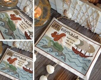 The Little Mermaid : The Little Stitcher Laura Rimola cross stitch pattern nautical sea ocean mythical creatures Hans Christian Andersen
