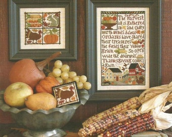 Thanksgiving Comes Again Book No. 141 cross stitch pattern by Prairie Schooler at thecottageneedle.com November holidays