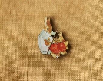 Mrs. Rabbit w/babies Needle Minder Beatrix Potter Peter Rabbit Christmas gift Secret Santa Easter children's story Mother's Day