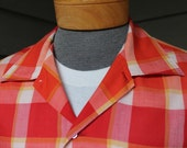 vintage 1960's -Sears- Men's short sleeve sport shirt. Bold Orange, Red, & Yellow box plaid - Butterfly collar.  Large