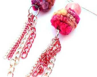 Fabric beads and chain earrings- Chain earrings, coral earrings, Orange and pink, brass and silver, metallic mix, handmade beads, pink beads