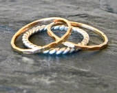 Stacking silver and gold band ring SET, stackable thumb ring, serendipity handcrafted women's jewelry