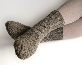 Wool Socks EU Size 38-40 - Hand Knitted - 100% Natural Organic Wool - Warm Winter Eco Clothing